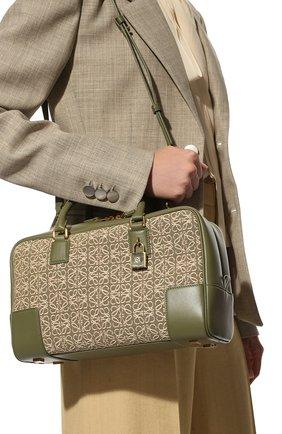 Женская сумка amazona 28 LOEWE зеленого цвета, арт. A039N08X02   Фото 2 (Материал: Натуральная кожа, Текстиль; Размер: medium; Ремень/цепочка: На ремешке; Сумки-технические: Сумки top-handle)
