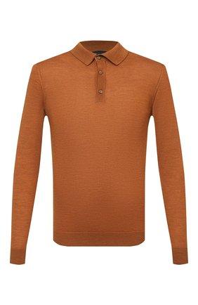 Мужское шерстяное поло DANIELE FIESOLI оранжевого цвета, арт. DF 0026 | Фото 1 (Материал внешний: Шерсть; Кросс-КТ: Трикотаж; Стили: Кэжуэл; Застежка: Пуговицы; Рукава: Длинные; Длина (для топов): Стандартные)