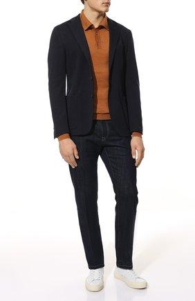 Мужское шерстяное поло DANIELE FIESOLI оранжевого цвета, арт. DF 0026 | Фото 2 (Материал внешний: Шерсть; Кросс-КТ: Трикотаж; Стили: Кэжуэл; Застежка: Пуговицы; Рукава: Длинные; Длина (для топов): Стандартные)