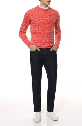 Мужской свитер DANIELE FIESOLI красного цвета, арт. DF 9040   Фото 2 (Материал внешний: Шерсть; Рукава: Длинные; Длина (для топов): Стандартные; Мужское Кросс-КТ: Свитер-одежда; Принт: Без принта; Стили: Кэжуэл)