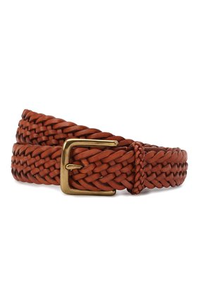Мужской кожаный ремень RALPH LAUREN коричневого цвета, арт. 404168232 | Фото 1 (Случай: Повседневный)