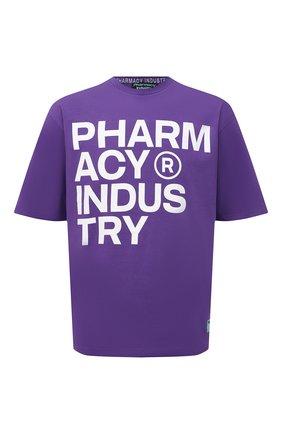 Мужская хлопковая футболка PHARMACY INDUSTRY фиолетового цвета, арт. PHMSTMM261   Фото 1 (Материал внешний: Хлопок; Принт: С принтом; Длина (для топов): Стандартные; Рукава: Короткие; Стили: Спорт-шик)