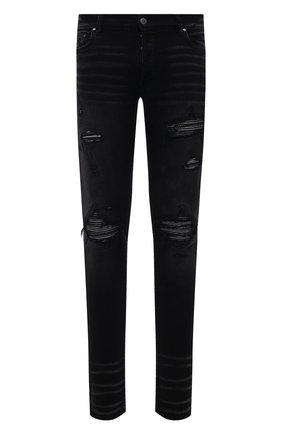 Мужские джинсы AMIRI черного цвета, арт. MDS059-023   Фото 1 (Материал внешний: Хлопок; Кросс-КТ: Деним; Силуэт М (брюки): Узкие; Стили: Гранж, Панк; Детали: Потертости; Длина (брюки, джинсы): Стандартные)