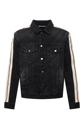 Мужская джинсовая куртка PALM ANGELS темно-серого цвета, арт. PMYE029F21DEN0011001   Фото 1 (Рукава: Длинные; Материал внешний: Хлопок, Деним; Длина (верхняя одежда): Короткие; Кросс-КТ: Куртка, Деним; Стили: Гранж)