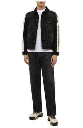 Мужская джинсовая куртка PALM ANGELS темно-серого цвета, арт. PMYE029F21DEN0011001   Фото 2 (Рукава: Длинные; Материал внешний: Хлопок, Деним; Длина (верхняя одежда): Короткие; Кросс-КТ: Куртка, Деним; Стили: Гранж)