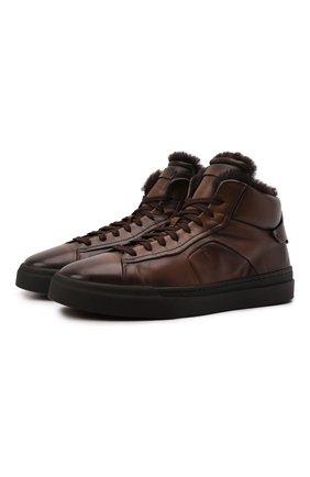Мужские кожаные кеды SANTONI темно-коричневого цвета, арт. MBGT21558NE0PG0NT50   Фото 1 (Материал утеплителя: Натуральный мех; Подошва: Массивная)