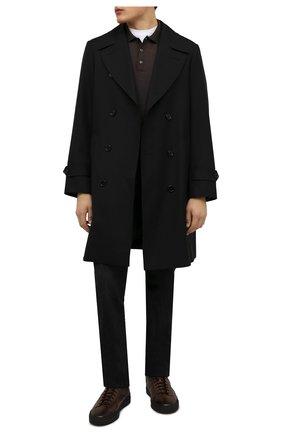 Мужские кожаные кеды SANTONI темно-коричневого цвета, арт. MBGT21558NE0PG0NT50   Фото 2 (Материал утеплителя: Натуральный мех; Подошва: Массивная)