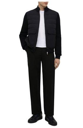 Мужские кожаные кеды SANTONI темно-синего цвета, арт. MBGT21625T0CPG0NU60   Фото 2 (Материал утеплителя: Натуральный мех; Подошва: Массивная)