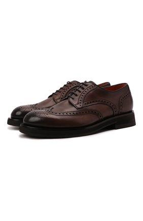 Мужские кожаные дерби SANTONI темно-коричневого цвета, арт. MCCG17872JW2IMCGT50   Фото 1 (Материал внутренний: Натуральная кожа; Стили: Классический; Мужское Кросс-КТ: Броги-обувь)