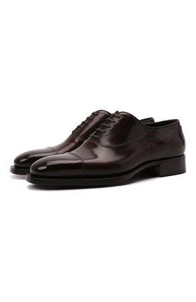 Мужские кожаные оксфорды SANTONI темно-коричневого цвета, арт. MLWG17628DD2HRNRT72   Фото 1 (Материал внутренний: Натуральная кожа; Стили: Классический)