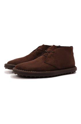 Мужские замшевые ботинки TOD'S темно-коричневого цвета, арт. XXM06G0ES51RE0 | Фото 1 (Материал утеплителя: Натуральный мех; Материал внешний: Замша; Мужское Кросс-КТ: Дезерты-обувь, Ботинки-обувь, зимние ботинки; Подошва: Плоская)