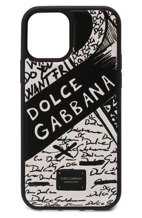 Кожаный чехол для iphone 12/12 pro DOLCE & GABBANA черно-белого цвета, арт. BP2905/AQ276 | Фото 1