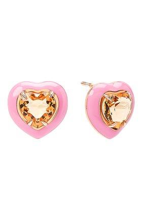 Женские серьги с сердцами из цитрина MOONKA розового цвета, арт. crg-er-ctr   Фото 1 (Материал: Серебро)