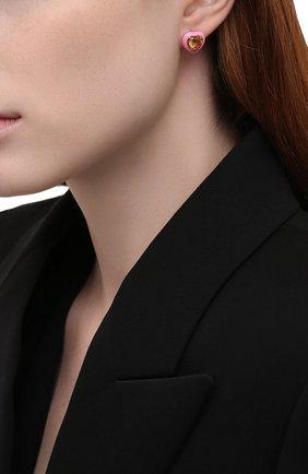 Женские серьги с сердцами из цитрина MOONKA розового цвета, арт. crg-er-ctr   Фото 2 (Материал: Серебро)
