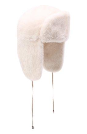 Женская шапка-ушанка из меха норки KUSSENKOVV кремвого цвета, арт. 091200012093 | Фото 1 (Материал: Натуральный мех)