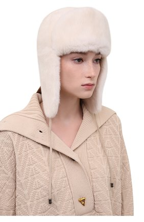 Женская шапка-ушанка из меха норки KUSSENKOVV кремвого цвета, арт. 091200012093 | Фото 2 (Материал: Натуральный мех)