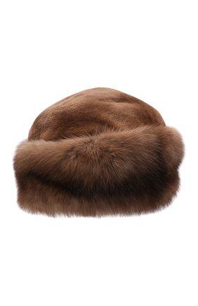 Женская шапка-кубанка из меха норки и соболя KUSSENKOVV коричневого цвета, арт. 060513605080   Фото 1 (Материал: Натуральный мех)