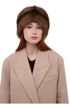 Женская шапка-кубанка из меха норки и соболя KUSSENKOVV коричневого цвета, арт. 060513605080   Фото 2 (Материал: Натуральный мех)