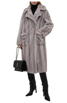Женская шуба из меха норки KUSSENKOVV серого цвета, арт. 700700036577   Фото 2 (Рукава: Длинные; Длина (верхняя одежда): Длинные; Материал внешний: Натуральный мех; Стили: Гламурный; Женское Кросс-КТ: Мех)