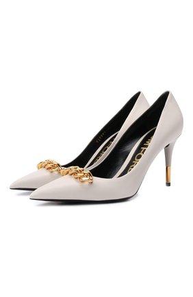Женские кожаные туфли TOM FORD кремвого цвета, арт. W2999T-LSP002 | Фото 1 (Материал внутренний: Натуральная кожа; Каблук тип: Шпилька; Каблук высота: Высокий; Подошва: Плоская)