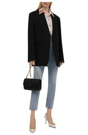 Женские кожаные туфли TOM FORD кремвого цвета, арт. W2999T-LSP002 | Фото 2 (Материал внутренний: Натуральная кожа; Каблук тип: Шпилька; Каблук высота: Высокий; Подошва: Плоская)