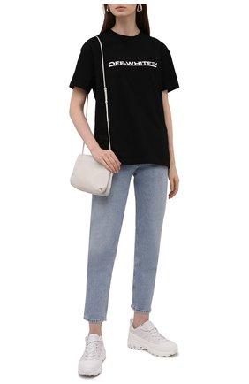 Женская хлопковая футболка OFF-WHITE черного цвета, арт. 0WAA089F21JER004 | Фото 2 (Длина (для топов): Стандартные; Материал внешний: Хлопок; Рукава: Короткие; Стили: Спорт-шик; Принт: С принтом; Женское Кросс-КТ: Футболка-одежда)
