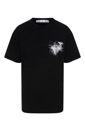 Женская хлопковая футболка OFF-WHITE черного цвета, арт. 0WAA089F21JER013 | Фото 1 (Рукава: Короткие; Материал внешний: Хлопок; Длина (для топов): Стандартные; Стили: Спорт-шик; Принт: С принтом; Женское Кросс-КТ: Футболка-одежда)