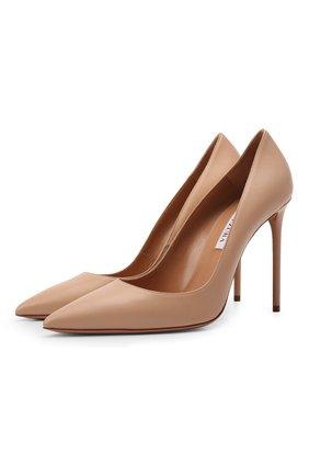 Женские кожаные туфли purist 105 AQUAZZURA бежевого цвета, арт. PURHIGP1-NAP-ECA | Фото 1 (Каблук высота: Высокий; Подошва: Плоская; Материал внутренний: Натуральная кожа; Каблук тип: Шпилька)