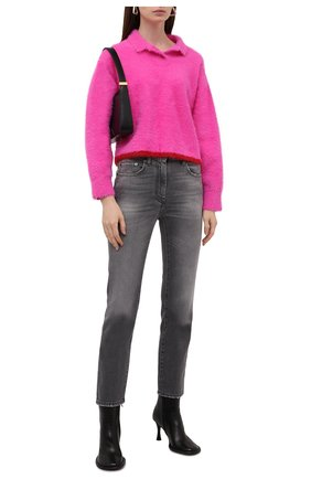 Женские джинсы PALM ANGELS серого цвета, арт. PWYA013F21DEN0021010   Фото 2 (Материал внешний: Хлопок; Длина (брюки, джинсы): Стандартные; Стили: Кэжуэл; Кросс-КТ: Деним; Силуэт Ж (брюки и джинсы): Слим)