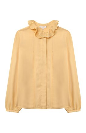 Детское блузка из вискозы CHLOÉ желтого цвета, арт. C15D02   Фото 1 (Материал внешний: Вискоза; Рукава: Длинные)