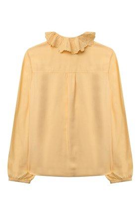 Детское блузка из вискозы CHLOÉ желтого цвета, арт. C15D02   Фото 2 (Материал внешний: Вискоза; Рукава: Длинные)