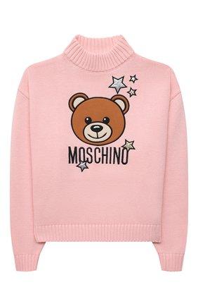 Детский хлопковый свитер MOSCHINO розового цвета, арт. HAW01B/LHE09/10A-14A   Фото 1 (Рукава: Длинные; Материал внешний: Синтетический материал, Хлопок; Девочки Кросс-КТ: Пуловер-одежда)