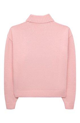 Детский хлопковый свитер MOSCHINO розового цвета, арт. HAW01B/LHE09/10A-14A   Фото 2 (Рукава: Длинные; Материал внешний: Синтетический материал, Хлопок; Девочки Кросс-КТ: Пуловер-одежда)