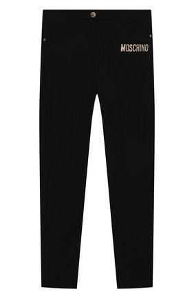Детские брюки из вискозы MOSCHINO черного цвета, арт. HDP046/LJA00/10A-14A   Фото 1 (Материал внешний: Вискоза; Девочки Кросс-КТ: Брюки-одежда)
