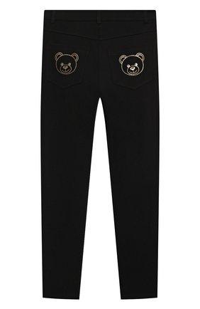 Детские брюки из вискозы MOSCHINO черного цвета, арт. HDP046/LJA00/10A-14A   Фото 2 (Материал внешний: Вискоза; Девочки Кросс-КТ: Брюки-одежда)
