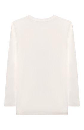 Детская хлопковый лонгслив MOSCHINO белого цвета, арт. HE0000/LBA01/10A-14A   Фото 2 (Рукава: Длинные; Материал внешний: Хлопок; Девочки Кросс-КТ: Лонгслив-одежда)