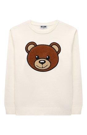 Детский хлопковый пуловер MOSCHINO белого цвета, арт. HMW00J/LHE09/10A-14A   Фото 1 (Материал внешний: Синтетический материал, Хлопок; Рукава: Длинные; Девочки Кросс-КТ: Пуловер-одежда)