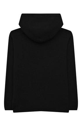 Детский худи из хлопка и шерсти MOSCHINO черного цвета, арт. HMW00K/LHE11/4A-8A   Фото 2 (Рукава: Длинные; Материал внешний: Хлопок; Мальчики Кросс-КТ: Толстовка-одежда)