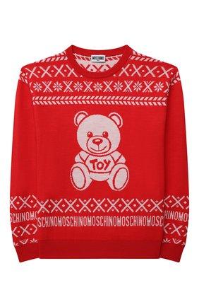 Детский шерстяной пуловер MOSCHINO красного цвета, арт. HUW00P/LHE16/10A-14A   Фото 1 (Рукава: Длинные; Материал внешний: Шерсть; Девочки Кросс-КТ: Пуловер-одежда)