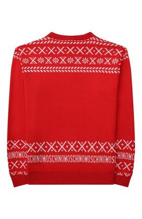 Детский шерстяной пуловер MOSCHINO красного цвета, арт. HUW00P/LHE16/10A-14A   Фото 2 (Рукава: Длинные; Материал внешний: Шерсть; Девочки Кросс-КТ: Пуловер-одежда)