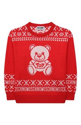Детский шерстяной пуловер MOSCHINO красного цвета, арт. HUW00P/LHE16/4A-8A   Фото 1 (Материал внешний: Шерсть; Рукава: Длинные; Девочки Кросс-КТ: Пуловер-одежда)