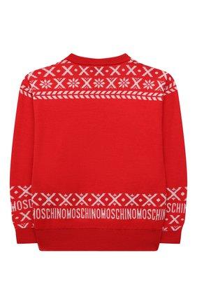 Детский шерстяной пуловер MOSCHINO красного цвета, арт. HUW00P/LHE16/4A-8A   Фото 2 (Материал внешний: Шерсть; Рукава: Длинные; Девочки Кросс-КТ: Пуловер-одежда)