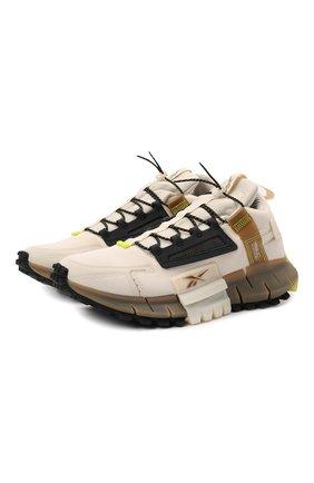 Мужские кроссовки zig kinetica edge REEBOK кремвого цвета, арт. GY3575   Фото 1 (Материал внешний: Текстиль; Стили: Спорт; Подошва: Массивная)