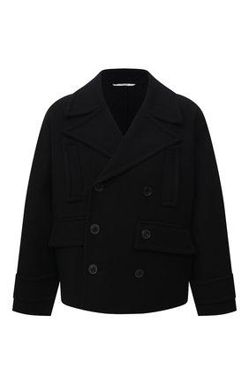 Мужской шерстяной бушлат VALENTINO черного цвета, арт. WV0CJG807U3 | Фото 1 (Рукава: Длинные; Материал внешний: Шерсть; Длина (верхняя одежда): Короткие; Мужское Кросс-КТ: пальто-верхняя одежда; Стили: Кэжуэл)