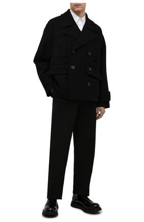 Мужской шерстяной бушлат VALENTINO черного цвета, арт. WV0CJG807U3 | Фото 2 (Рукава: Длинные; Материал внешний: Шерсть; Длина (верхняя одежда): Короткие; Мужское Кросс-КТ: пальто-верхняя одежда; Стили: Кэжуэл)