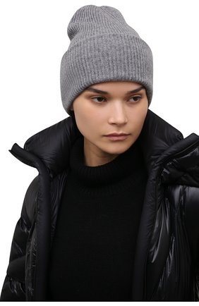 Женская кашемировая шапка LISA YANG серого цвета, арт. 402091   Фото 2 (Материал: Кашемир, Шерсть)