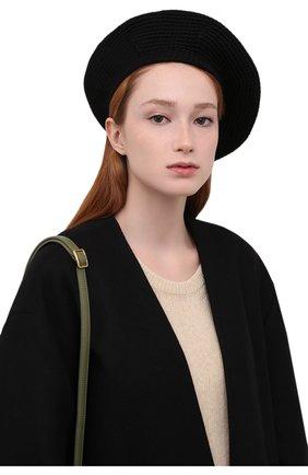 Женский берет LOW CLASSIC черного цвета, арт. L0W21FW_HA02BK | Фото 2 (Материал: Текстиль, Шерсть, Синтетический материал)
