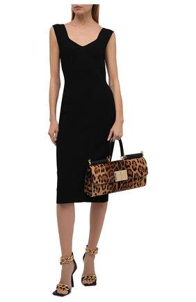 Женское платье DOLCE & GABBANA черного цвета, арт. FXD38T/JBMS5 | Фото 2 (Материал внешний: Вискоза; Длина Ж (юбки, платья, шорты): Миди; Женское Кросс-КТ: Платье-одежда; Случай: Повседневный; Стили: Романтичный)