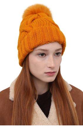 Женская кашемировая шапка courchevel LORO PIANA оранжевого цвета, арт. FAI3621   Фото 2 (Материал: Шерсть, Кашемир)