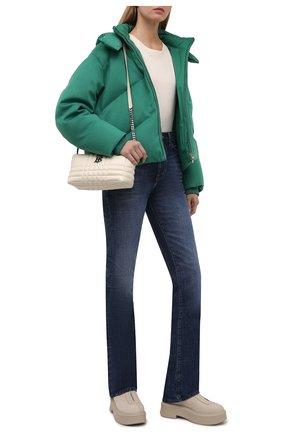 Женский кашемировый пуховик LORO PIANA зеленого цвета, арт. FAL8877 | Фото 2 (Материал внешний: Шерсть, Кашемир; Материал утеплителя: Пух и перо; Материал подклада: Синтетический материал; Рукава: Длинные; Длина (верхняя одежда): Короткие; Кросс-КТ: Пуховик; Стили: Спорт-шик)